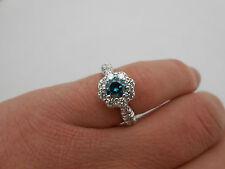 Gorgeous Sophia Fiori Blue & White Diamond 14k White Gold Halo Engagement Ring 7
