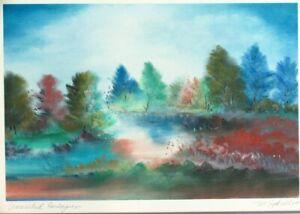 "Signed M. Sotillo ""Unreached Horizons"" Scenery Landscape Lithograph Print"