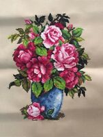 "New Finished completed Cross stitch""BEAUTY FLOWERS VASE""home decor gifts"