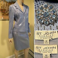 ST JOHN Size 10 Med Blue/Gray Shimmery Sequined Jeweled Stretch Knit SKIRT SUIT