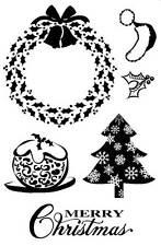Non montato Timbro Holly Natale, CORONA, Pudding, Alberi