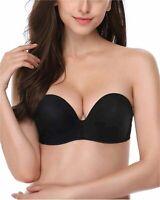 DotVol Women Hand Shape Custom Lift Invisible Wirefree, Pure Black, Size 36D 3B6