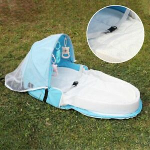 Portable Bassinet Foldable Baby Bed Sun Protection Mosquito Net Infant With Toys