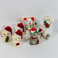 Vintage Flocked Felt Christmas Ornaments Dog Mice Bears Lot of 6 Tree Decoration