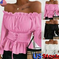 US Women Casual T Shirt Long Sleeve Blouse Ladies Sexy Ruffle Off Shoulder Tops