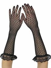 BLACK RUFFLE WOMENS LONG LACE GLOVES