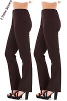 Ladies Finely Ribbed Bootleg STRETCH Trousers (2 PAIRS IN BROWN) Size 10 to 24