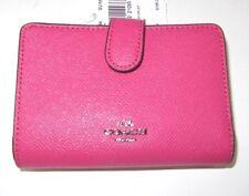 Coach Magenta Pink Cross Grain Leather Medium Corner Zip Wallet F11484 NWT $165