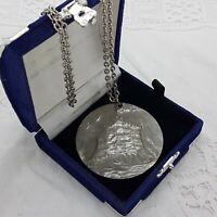 VINTAGE Castle Island Themed Pendant Necklace Silver Tone Chain Studio Souvenir