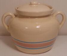 Vintage McCoy Bean Pot # 342 Lid Ceramic Crock Pink  Blue Stripe Stoneware
