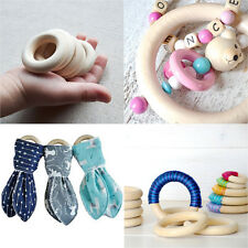 10PCS DIY Wooden Beads Connectors Circles Rings Beads Lead-Free Natural Wood