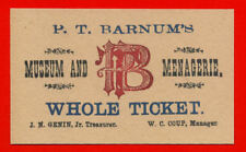 PT Barnum's Museum Ticket On 100 Year Old Paper - Circus Freaks & Oddities