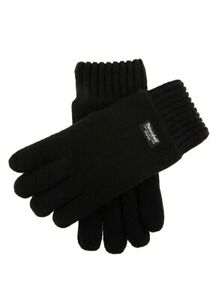 DENTS 3M Thinsulate Men's Wool Knit Gloves With Rib Cuff - Black