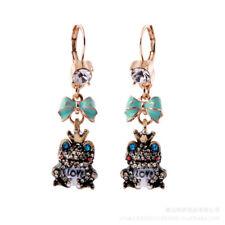 Women Elegant Fashion Earrings Long Dangle Crystal Crown Frog Love Green Flower