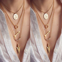Fashion Women Pendant Gold Chain Charm Choker Statement Bib Necklace Jewelry