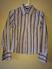 DCC STRETCH Button Down Striped Pink & Brown Long Sleeve EUC Size Small