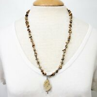 Brown Stone Necklace Speckled Silver Tone