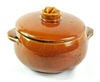 Vintage MCCOY POTTERY Covered Brown Bean Pot with Lid Casserole Rustic Has Issue