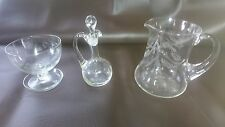 Etched Leaf Pattern Vintage Crystal Glass vinaigrette Water Jug & Finger Bowl