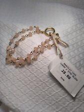 "Beacoup designs 2 strand Beaded Bracelet Gold blush pink beads, 8""  NWT"