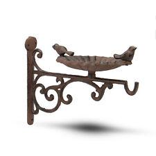 More details for iron bird bath & feeder garden decor wall mounted birdbath m&w