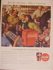 1945 WWII Coca-Cola Soldier Red Soda Fountain Coke 10.5 x 14 Large Size War Ad