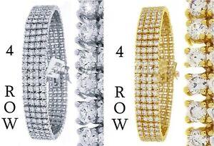 "Men's New Yellow/White Gold Finish 4 Row Diamond Simulate  Bracelet 8.5""  14mm"