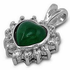 NEW JADE STONE & CZ HEART .925 Sterling Silver Pendant