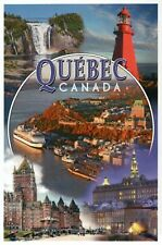 Quebec Canada Montage, Lighthouse, Parliament, Cruise Ship etc - Modern Postcard