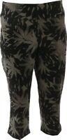 Women with Control Printed Denim Prime Stretch Capri Jeans Black PM NEW A353115