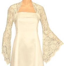 Ladies Ivory Lace Long Bell Sleeve Cropped Bolero Shrug Sizes 8-30 08