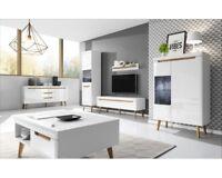 Living room furniture set glass cabinet floating storage Tv unit shelf white
