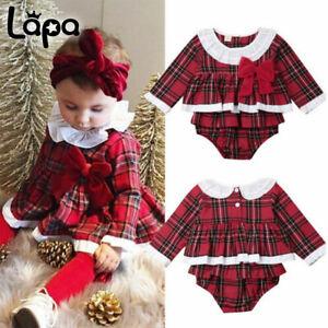 Lapa Neugeborene Baby Kinder Mädchen Outfits Weihnachten Kleid + Hosen Kleidung