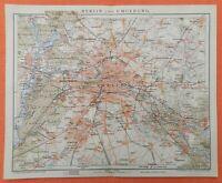 BERLIN und Umgebung Charlottenburg Steglitz Rixdorf historischer Stadtplan 1901