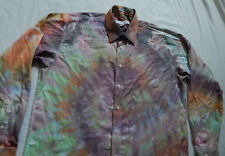 Tie Dye Purple Rainbow Long Sleeve Button Down Shirt - Large Mens Hand Tied 16.5