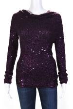 Donna Karan Womens Cashmere Sequin Cowl Neck Sweater Purple Size Small