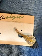 Vintage new old stock  jewelry goldtone musical instrument lute pin brooch