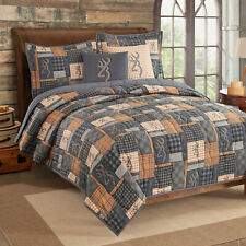 Browning Buckmark Patchwork Full/Queen Quilt 3pc Plaid Checked Gingham Country