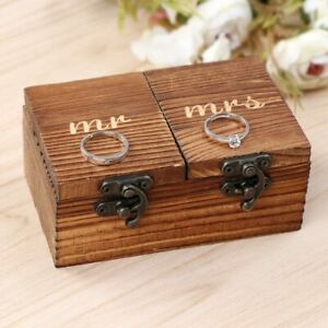 Rustic Vintage Wooden Wedding Ring Bearer Box Engagement Ring Holder Jewelry Box