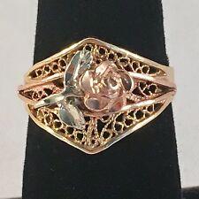 14k TriColor Black Hills Gold Filigree Ring with Floral Rose Design Size 7 1/2