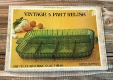 New In Box Vintage INDIANA GLASS 5 PART RELISH TRAY Green Serving Party Fruit