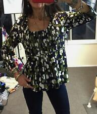 SUZANNE GRAE MOD PRINT SMOCK TOP L 14 3/4 slv retro 70s ruched bust scoop neck