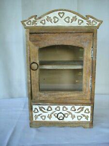 Vtg Small Curio Cabinet distressed Wood Glass Door w/ drawer Table Top shabby