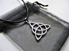 Tibetan Silver Triquetra Celtic Knot Charm Necklace With Gift Bag
