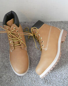 Honey Mustard Yellow Lace Up Flat Hiker Ankle Boots Size UK 7 EU 40