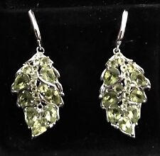 """$300 GORGEOUS NATURAL 2.1""""x1"""" PERIDOT 14KWHITE GOLD OVER  SILVER EARRINGS"""
