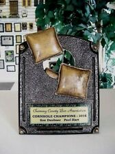 CORN HOLE CORNHOLE PLAQUE AWARD RESIN TROPHY FREE LETTERING P-54799GS