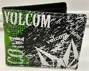 VOLCOM Mens Bifold Wallet - Zip Pockets Card Slots I.D Window - LICENSED