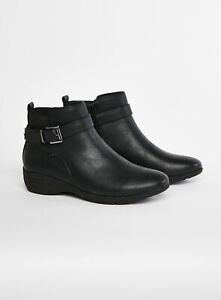 Evans Womens Extra Wide Fit Black Comfort Fit Ankle Boots Winter Shoes