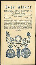 ROMANIA HUNGARY ADVERTISING CLUJ KOLOZSVÁR horologist - jeweller DOBÓ ALBERT